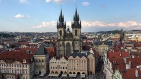 4K. Church of Our Lady before Týn, a gothic church in Old Town of Prague. Czech Republic. Views from the tower of the old town hall stock video