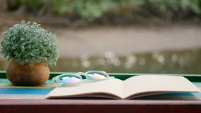 4K. Cinemagraph of blank book with flowerpot on the wooden table against the sparkling river background.  stock video
