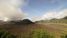 4K cinematic Panning Right to Left Time Lapse of Mount Bromo volcano in the afternoon.