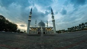 4K Cinematic Time Lapse Footage of Selangor State Mosque in Shah Alam, Malaysia. The mosque is also known as Masjid Sultan Salahuddin Abdul Aziz Shah and also stock video footage