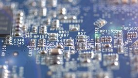 4k - Circuit board with electric components stock footage