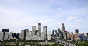 4k, circulación densa a través del distrito financiero central de Pekín, edificio urbano almacen de video
