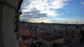 4K. Cityscape of Old Town of Prague. Views from tower of old town hall stock video