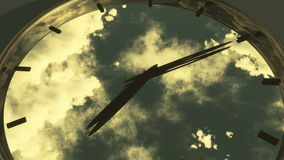 4k clock in timelapse & fast flying cloud background,watch in time. Cg_03024_4k stock footage
