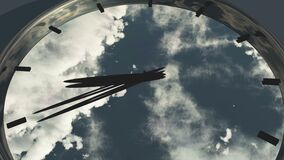 4k clock in timelapse & fast flying cloud background,watch in time. Cg_03034_4k stock footage