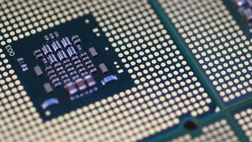 4K Close Up of Computer Processor CPU aligned surface rotating dolly. 4K Close Up Computer Processor CPU aligned surface rotating dolly stock footage