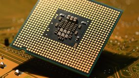 4K Close-up of cpu computer processor over electronic circuit board rotating on dolly. 4K Ultra HD video stock video