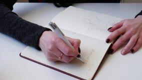 4k close-up Een onderneemster schrijft een krantekop voor haar businessplan De handen van mooie vrouwen schrijven in een notitieb stock video
