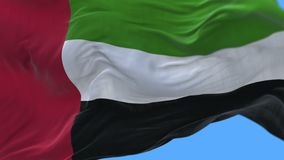 4k Close up of United Arab Emirates flag slow waving in wind.alpha channel. 4k seamless Close up ofUnited Arab Emiratesflag slow waving with visible wrinkles.A stock footage