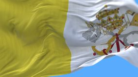 4k Close up of Vatican City Holy See flag slow waving in wind.alpha channel. 4k seamless Close up of Vatican City Holy See flag slow waving with visible stock footage
