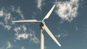 4k closeup of Windmill Turbines Clean,Green Wind Energy,new power,white cloud.