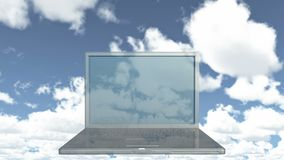 4k Cloud Computer Data Storage,Laptop play video of time lapse clouds,blue sky.
