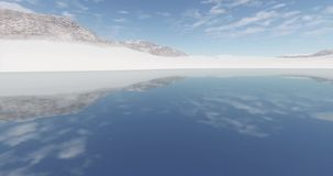 4k clouds mass rolling over clam lake surface & snow mountain,lake like mirror. stock footage