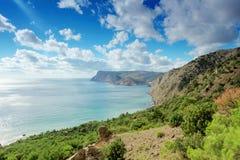 4K. Cloudy sky over the mountains and the sea. Balaklava, Crimea, Ukraine. FULL HD stock video