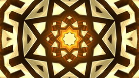 4K Colorful looping kaleidoscope sequence of golden patterns stock footage