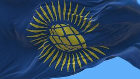4k Commonwealth of Nations flag,C`wealth cloth texture loop background.