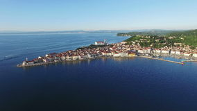 4K Compilation Video. Flight over old city Piran in Slovenia at sunset, aerial panoramic view. stock video