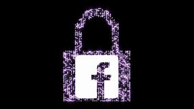4k Computer security with padlock,facebook icon,Leakage of personal information,a futuristic circuit board with moving electrons s. Haped lock symbol,electronic stock illustration