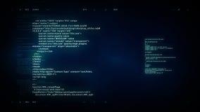 4K computercode het scrollen blauw stock videobeelden