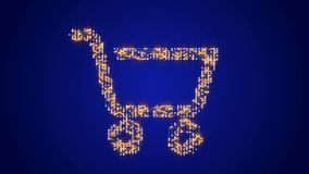 4k Concept sale,circuit board electrons shaped shopping cart symbol,E-commerce.