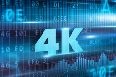 4K concept. 4K technology concept blue background blue text Royalty Free Stock Photography