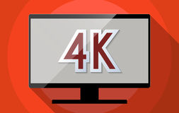 4K. Concept for Ultra high definition television (UHDTV), 4K resolution and High tech revolution. Flat design illustration Stock Photos