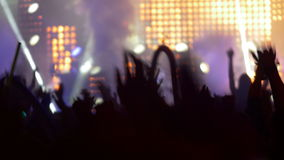 4K Concert crowd at live music festival stock video footage