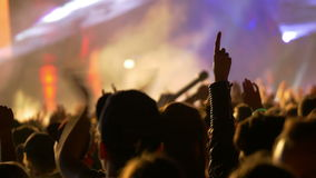 4K Concert crowd at live music festival stock video
