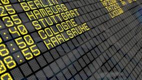 4K - Conseil de départ d'aéroport avec des destinations de villes de l'Allemagne banque de vidéos
