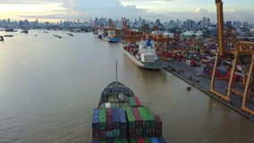 4K Container ship in the harbor in Bangkok stock video footage
