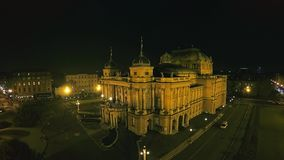 4K Croatian national theater in Zagreb - aerial stock video footage
