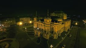 4K Croatian national theater in Zagreb - aerial stock footage