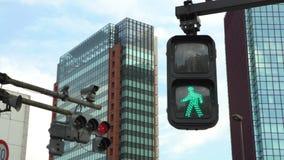 4K crosswalk znaka Tokio miasta ruchu drogowego zmiany Zwyczajna czerwień zielony kolor zdjęcie wideo