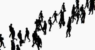 4k Crowd Of People walking,businessman silhouette.
