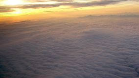 4K Cudowny widok zmierzch Przez Samolotowego okno Podróżny powietrze zbiory