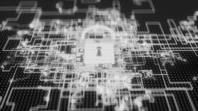 4K Cybersecurity protocol defending inbound attacks. Seamless loop royalty free illustration