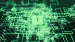 4K Cybersecurity protocol defending inbound attacks. Seamless loop vector illustration