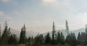 4K czasu upływ Ładny Ladscape z górami, drewnami i chmurami jadącymi wiatrem, zbiory wideo