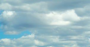 4K czasu upływ niebieskie niebo z biel chmurami jechać wiatrem zbiory