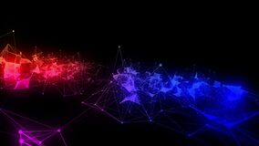 4k abstract Digital background with graph made of nodes shaped big data text.