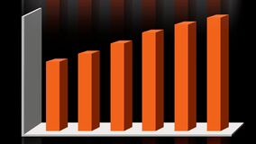 4k 3D animation of 2D vector bar graph chart showing data visualization and information.