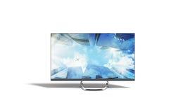 4k 3d de monitor geeft beeld op wit terug Stock Foto's