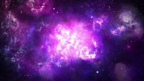 4k 3D Animation Space flight into a star field into the Orion Nebula Galaxy.