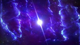 Neon color violet boundless Deep galaxy full of exquisite nebulae filling magical space Loop Background.