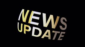 4K 3D News Update gold text loop rotating animation on Black background. NEWS UPDATE Advertising sign.
