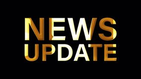 4K 3D NEWS UPDATE golden word title. 3D Illustration of isolated word isolated using QuickTime Alpha Channel ProRes 4444.