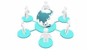 4k 3d people model around earth, devices connecting to internet. 4k 3d people model around rotate earth, computer network, devices connecting to internet or vector illustration