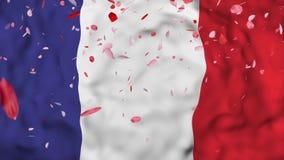 4k 3D realístico detalhou a bandeira de França do movimento lento, fundo animado de voo da bandeira de Irã, ilustração royalty free