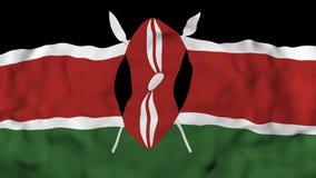 4k 3D realista detalló la bandera de Kenia de la cámara lenta, fondo animado de la bandera de Kenia que volaba, stock de ilustración
