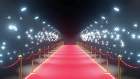 4k 3D red carpet, barriers, flash lights animation